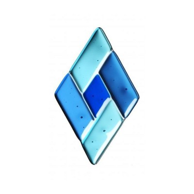 Sticla fusionată 76mm x 127mm romb albastru