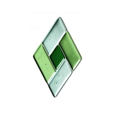 Sticlă fusionată 76mm x 127mm romb verde