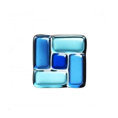 Sticlă fusionată 60mm x 60mm patrat albastru