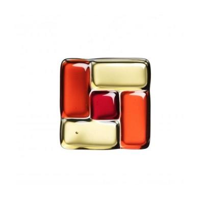 Sticlă fusionată 60mm x 60mm patrat rosu/orange/galben